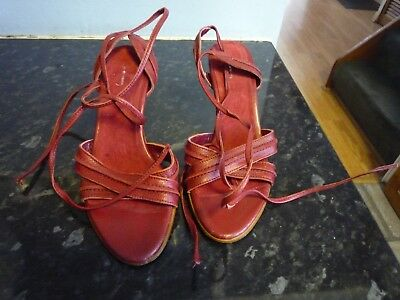 A Pair of Jasper Conran Red Ankle Strap Ladies Shoes