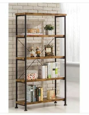 Rustic Industrial Bookcase Display Metal Wood Office Bathroom Garage Shelving