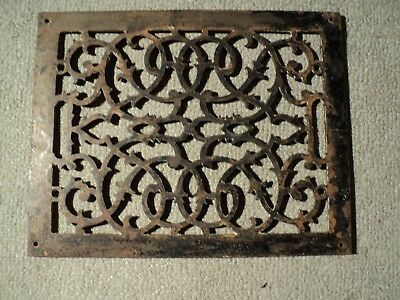 "Antique Cast Iron Heat Grate Floor Vent Register Decorative 13-5/8"" x 10-3/4""."