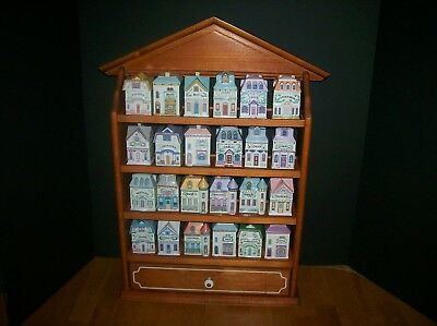 Lenox 1989 Spice Village Set With 24 Houses With Display Rack
