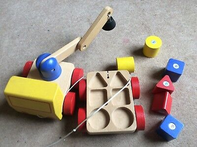 Wooden Pull Along Truck And Shape Sorter , Excellent Clean Condition