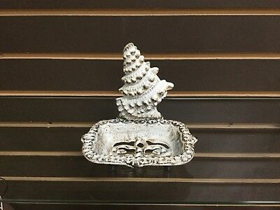 Cast Iron Antiqued White Spiral Shell Soap Dish (182-2045)