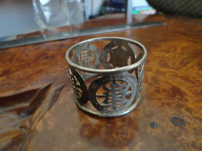 SIlver old napkin ring round old asian