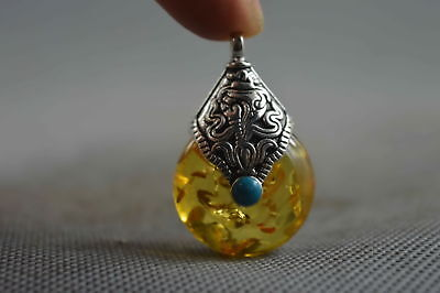 Collectable Handwork Old Amber Armor Miao Silver Carve Character Lucky Pendant
