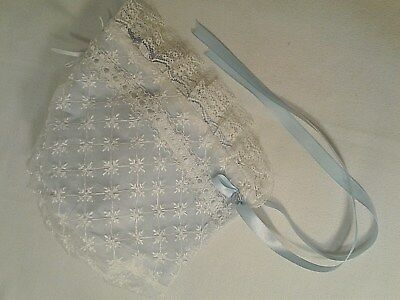 VINTAGE BABY BONNET 1950's/60's, BLUEWhite WITH Lace Lined Very Good Condition
