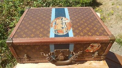 Antique Louis Vuitton Alzer Hard Sided Trunk Suitcase LV Cunard Steamship 2 of 4