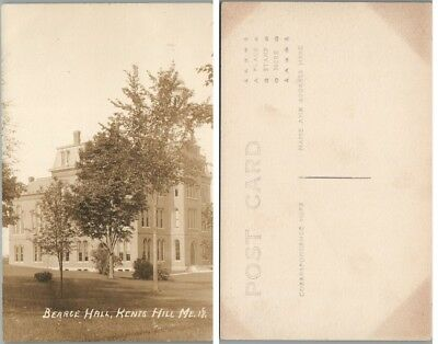 Bearce Hall Kents Hill Maine Antique Rppc Real Photo Postcard