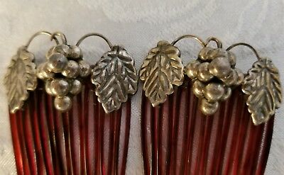 Vintage Pair Hair Combs Silver Grapes and Leaves Unmarked