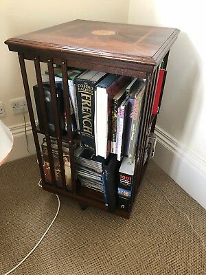 Revolving antique book case / stand with inlay in excellent condition