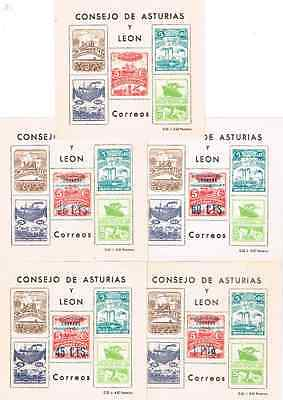 Spain Civil War Locals Asturias 5 Sheets Tobacco Ships Miner Lamp Cow Industry