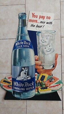 c. 1940s-1960s White Rock Club Soda Sparkling Water Cardboard Store Display Sign