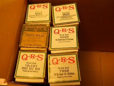 Six Christmas Player Piano Rolls-Jingle Bell Rock Etc