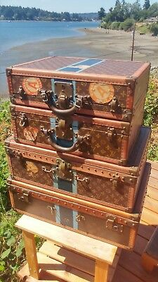 Antique Louis Vuitton Alzer Hard Sided Trunk Suitcase LV Cunard Steamship 3 of 4