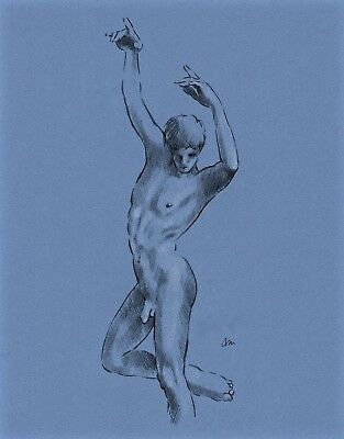 ORIGINAL NUDE MALE  FIGURE 11x14 FINE ART PASTEL ON TONED PAPER  DRAWING