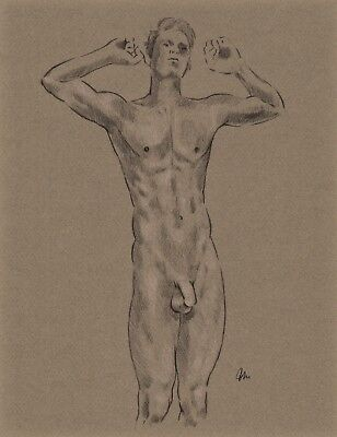 ORIGINAL NUDE MALE  FIGURE 8.5x11 FINE ART PASTEL ON TONED PAPER  DRAWING