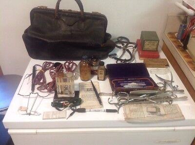 Vintage 1920's Leather Doctor's Bag And Contents Medicine Bottles Thermometers