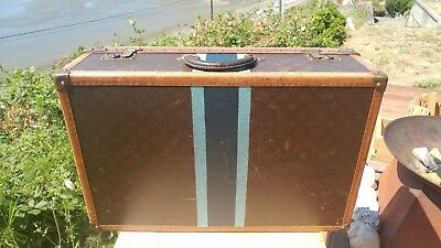 Antique Louis Vuitton LV Mono Alzer Hard Sided Steamship Trunk Suitcase 4 of 4