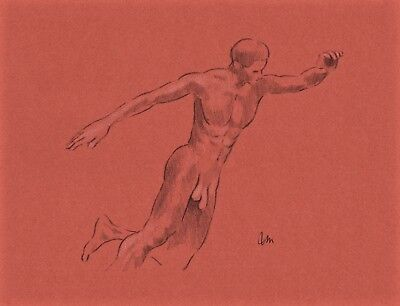 ORIGINAL NUDE MALE  FIGURE 11x8.5 FINE ART PASTEL ON TONED PAPER  DRAWING