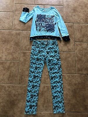 JUSTICE Girls Shirt And Pants Outfit Size 14 Teal Blue NWT