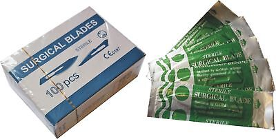 100 Pack Carbon Steel Sealed Sterile Surgical Vet Scalpel Blades New #15 New UK