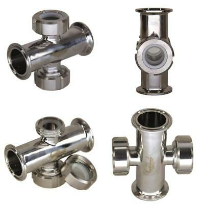 "HFS (R) 1.5"" Inline Union Sight Flow Glass Sanitary Tri-clamp Stainless Steel 30"