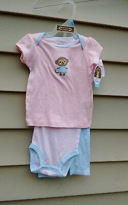 Child Of Mine By Carters Girls 3 Pc Pants Set 3-6  Months Pink 100% Cotton