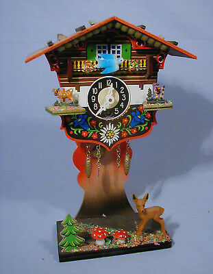 """GERMAN """"ROCKING BLUEBIRD"""" CUCKCOO - CHALET SYTLE - HANG or MANTLE  - works great"""