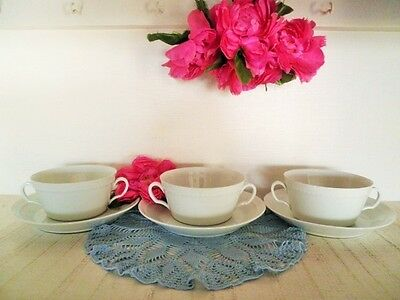 VINTAGE SOUP COUPES & SAUCERS X3 FURSTENBERG GERMANY WHITE FINE QUALITY see MORE