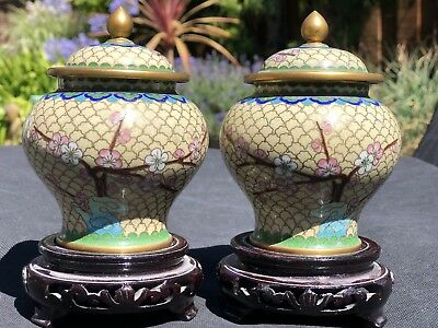 Antique Pair of Chinese Cloisonne Lidded Vase Urn Cherry Blossom