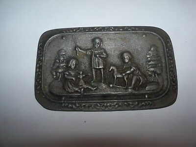 OLD Antique Vintage Children playing w TOYS Doll Horse METAL PLAQUE RARE