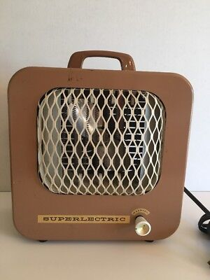 Vintage 1950s Metal Wall Fan SUPER LECTRIC Electric Heater with Fan Works GREAT