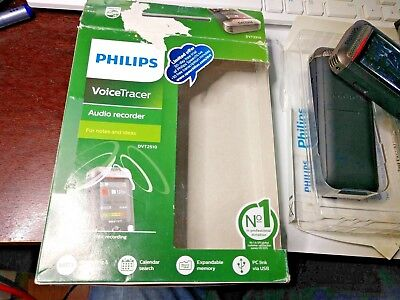 2 Philips VoiceTracer 2-Mic Stereo Digital Audio Voice Recorder DVT2510 Used