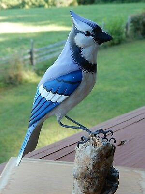 Vintage Hand Carved Bird Hand Painted Enesco 1966 Blue Jay Lucite Case Wood Mnt