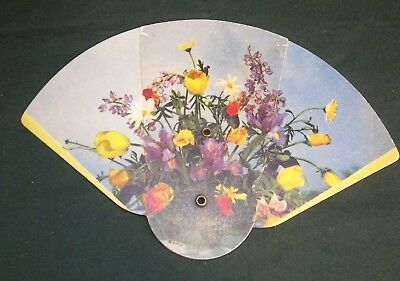 Vintage Advertising Tri-Fold Paper Fan~ With Multi-colored Flowers