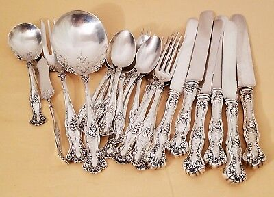 "1847 Rogers Bros ""Vintage"" Grape Pattern 23 Pieces Forks Spoons Knives Serving"