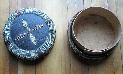 1 Leather Beaded Moccasin + 2 More;  1 Vintage Birch Bark/quill Basket & Lid