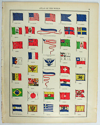 World Flags Original Vintage Antique 19th Century Atlas Of The World Print