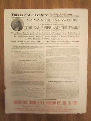 "LOWERED PRICE !!!   Original Broadside - Cpt. Jack Crawford - ""The Poet Scout"""