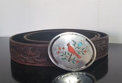 Vintage Boyd Sterling Silver Belt Buckle Coral Turquoise Inlay Cardinal W Belt