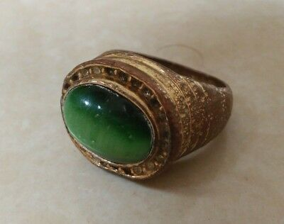 rare ancient antique roman bronze ring beautiful authentic amazing with stone
