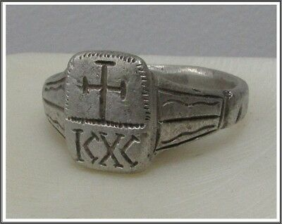 Ancient Silver Byzantine Ring** CROSS **ICXC**