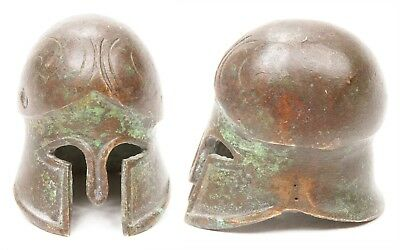 Antique Greek Miniature Bronze Corinthian Helmet Small Grand Tour Armor Greece