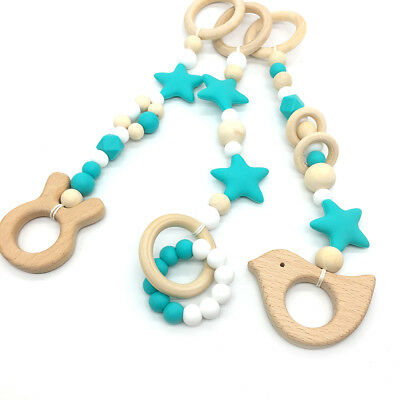 Teething Toy Baby Rattle Play Gym Teether Gift Wood Bead Star Silicone BPA Free