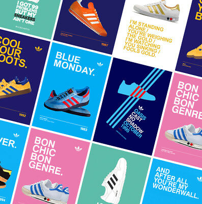 ADIDAS CASUALS CLASSIC TRAINERS POSTERS PRINTS - Oasis - Gallagher - Stone Roses