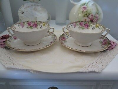 """Royal Doulton Two Handled Soupe Coupes X 2 & Saucers  """"English Rose"""" D6071"""