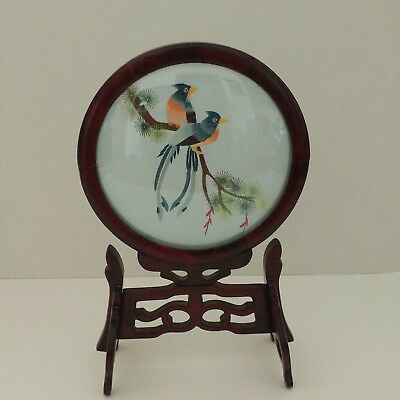 Vintage Chinese Embroidered Silk Picture Under Glass Rotating Wooden Frame