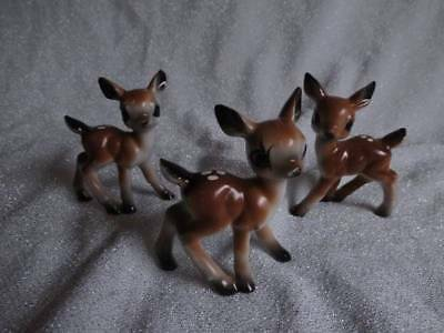 Vintage Ceramic deer fawn figurines made in Japan Set of 3
