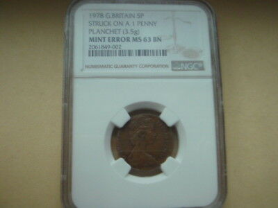 Mint Error, NGC MS 63, 1978 Great Britain 5 Pence On A 1 Penny Planchet (3.5 g).