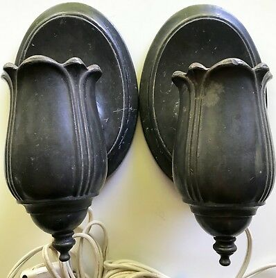 Vtg Set of 2 CAST IRON LIGHT FIXTURES Wall Victorian Gothic ANTIQUE Plug Lamp