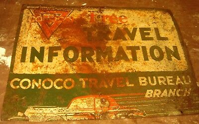 Original 2-sided CONOCO Heavy Guage metal Travel Sign with Fast Car Graphics